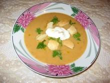 Крем-суп овощной с гренками и сметаной