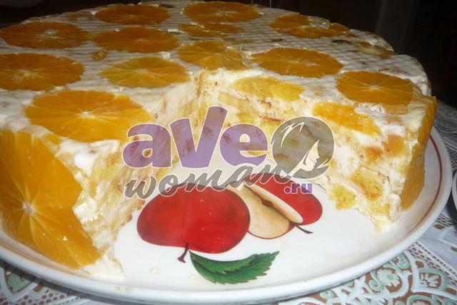 """Бисквитно-фруктовый желейный торт """"Фруктовая нежность"""""""