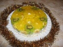"""Фруктово-желейный торт из печенья без выпечки """"Зимнее солнце"""""""