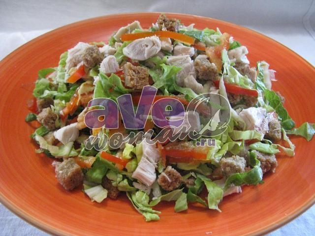 Рецепты салатов с копченой грудкой с фото пошагово